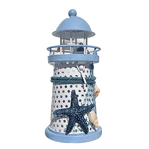 DEER HOUSE Hirschhaus Kerzenhalter Mediterraner Mini-Leuchtturm Eisen Kerze Laterne Teelicht Kerzenständer Kerzenständer Kerzenständer Kerzenständer Deko -