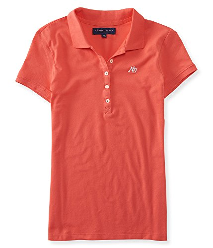 Aeropostale Women's Polo Shirt Medium Coral w White 864 (Polo-shirts Aeropostale)
