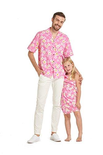 Hecho-en-Hawaii-a-juego-Padre-hija-Hija-Luau-camisa-chica-volante-vestido-en-Bonita-Plumiera-en-Rosado-M-6