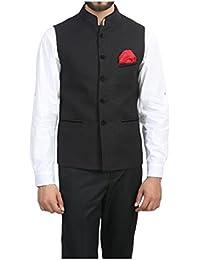 ManQ Men's Band Collar Slim Fit Party/Casual Waist Coat