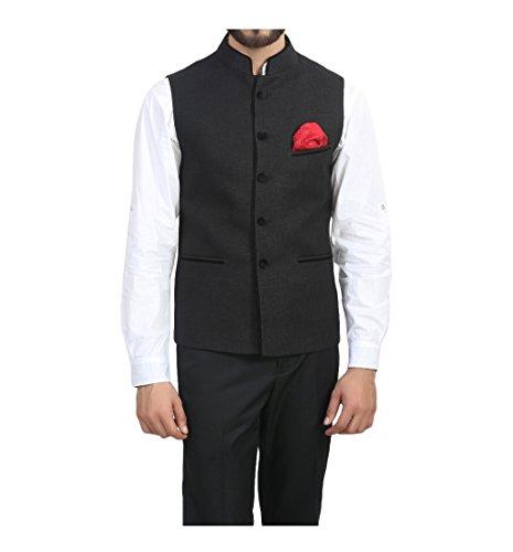 ManQ Black Slim Fit Party/Casual Men's Band Collar Waist Coat