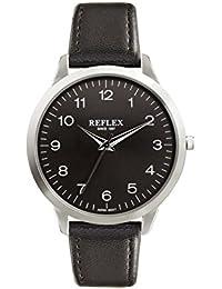 Reflex Herren Armbanduhr Schwarz Rund Zifferblatt mit Schwarz PU Lederband ref0025