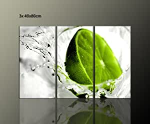 ! impression sur toile motif citron vert lime 3 x 40 x 80 cm) idéal pour plaque décorative pour bar gestronomie kücheBilder art ensemble de 3 impressions sur toile motif favorable avec cadre inclus