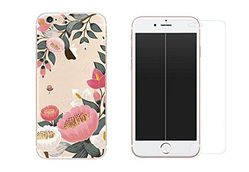 iPhone 6 iPhone 6S Combo 1 Verre trempé + 1 coque gel imprimée fantaisie et solide pour iPhone 6 et 6S -Grosses Fleurs -NOVAGO