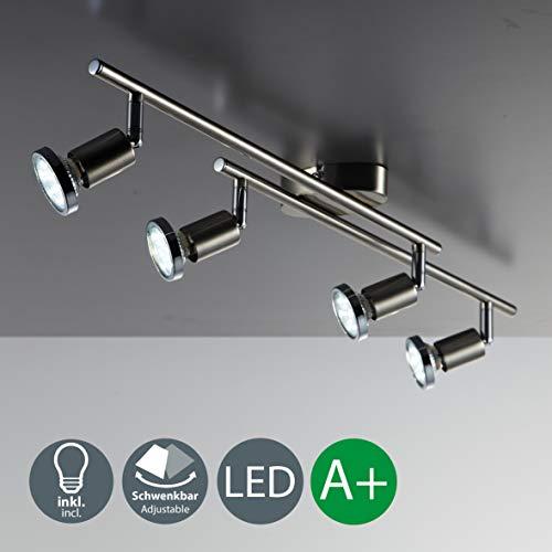 B.K. Licht plafonnier 4 spots LED orientables, GU10, 4 spots plafond x3W, lumière blanche chaude, plafonnier chambre salon cuisine bureau, 230V, IP20, 4x3W inclus