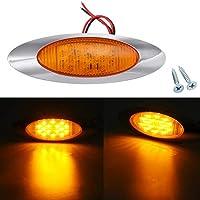 Ovales laterales de cabina luces marcadoras 16 LED del bisel for el carro Marina Barco 12V 6.5 pulgadas (Color : Amber)