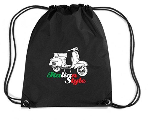 Cotton Island - Zaino Zainetto Budget Gymsac T0154 vespa italian style auto moto motori, Taglia Capacita 11 litri