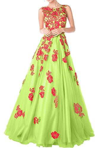 Charmant Damen Orange Organza Abendkleider Promkleider Abiballkleider Prinzess A-linie Rock Lang Lemon Gruen