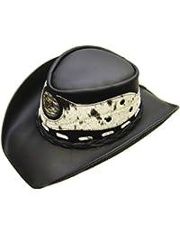 "Modestone Unisex Leather Sombrero Vaquero ""Hair On"" Cowhide Applique Black"