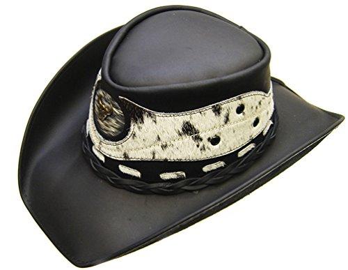 Modestone Unisex Leather Chapeaux Cowboy Hair on Cowhide Applique Black
