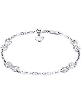 925er Sterling Silber Unendlich Liebe Armband - Billie Bijoux Frau Endlose Liebe Symbol Verstellbares Armband...
