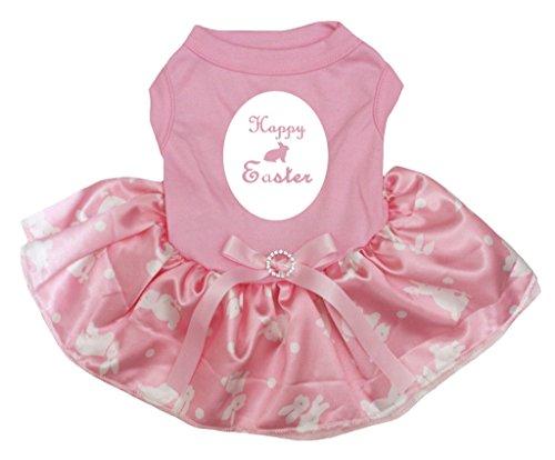 Petitebella Puppy Kleidung Hund Kleid Happy Easter Shirt Polka Dot Bunny Rosa Tutu, X-Large, Rose