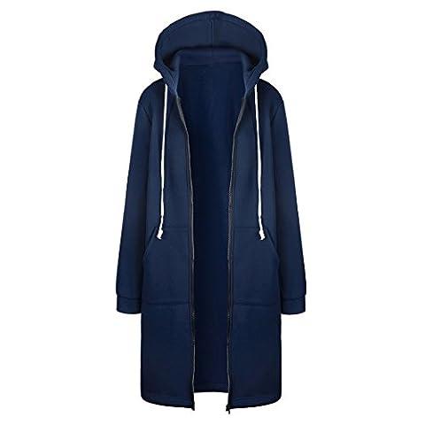 CODIFFEREN Frauen Casual Zip up Kapuzenpulli Taschen Tunika Sweatshirt Lange Hoodie Oberbekleidung Jacke(36-50)