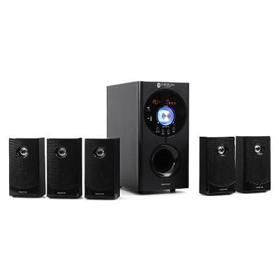 """Auna Concept 620 • Système Son Surround 5.1 • Home cinéma • Système d'enceintes • 95 Watt RMS • Sidefiring-Subwoofer 16,5cm (6,5"""") • Bassreflex • 5 Enceintes Satellites • Bluetooth • Port USB • Noir par Auna"""