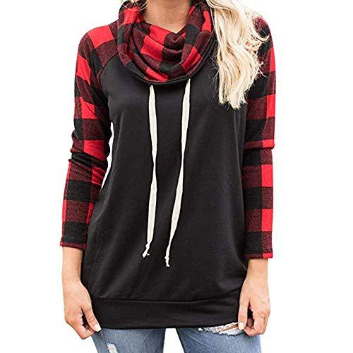 TianWlio Damen Langarmshirt Bluse T-Shirt Tops Frauen Herbst Winter Rollkragenpullover Plaidhemden Tunika Langarmpullover