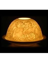 Photophore en porcelaine pour bougie chauffe-plat - angelot, hauteur 7, 8 cm Ø 11, 5 cm, porcelaine, livré dans un superbe emballage cadeau