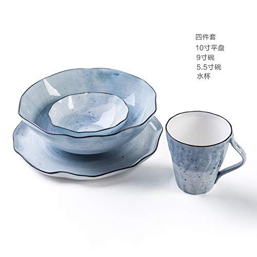 Europäischer kreativer Keramikschüsselsatz-Plattenbecher, der zu Hause mit blauem 4-teiligem Satz versorgt