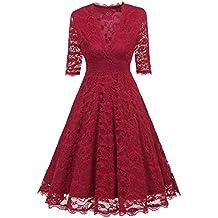 Homebaby Abito Donna Eleganti da Cerimonia Pizzo Vestito Manica Lunga  Invernale Taglie Forti Capodanno Sposa Vacanza 7c2d9fcde7c