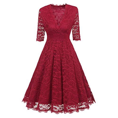 Beikoard Übergröße Damen Kleider Cocktailkleid Halbarm A-Linien Kleid Damen Kostüm Kleid Elegant Knielang Fit & Flare Kleid (Übergröße Flapper Kleid Kostüm)