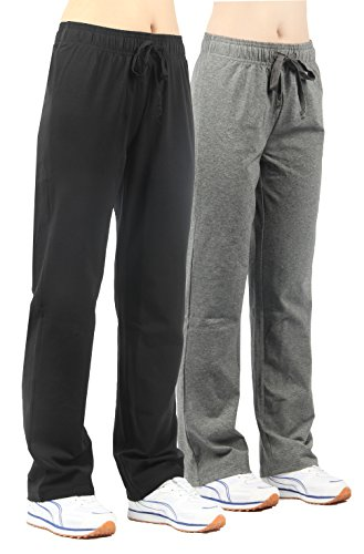 2x jogginghose damen sport Leggings schwarz&grau Bootleg Casual YOGA Workout hose,L -31