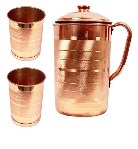 Generic Hast Kala Kendra Copper Jug with 2 Glass (2000Ml of Jug, 400ML of Each Glass)