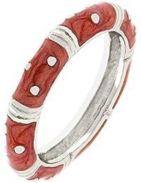 Eleganter Ring mit roter Emaille, 14 Karat Weißgold Vermeil