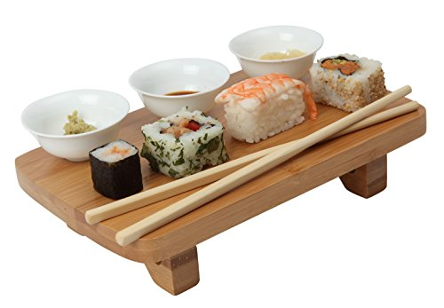 Dexam Bamboo Sushi Serving Kit Set, including Bowls, Table & Chopsticks 17851013 by Dexam width=
