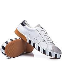 Zapatillas De Deporte Ocasionales De Las Mujeres De Cuero Zapatos De Deporte De Encaje Zapatos Planos Transpirables Zapatos De Caminata Cómodos Zapatos De Entrenamiento De Tenis ( Color : White , Size : 38 )