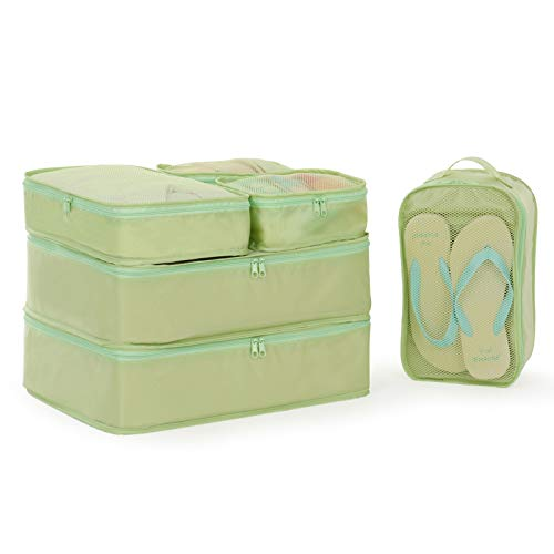 Packing Cubes 6 Set-travel Luggage Packing Organizers with Shoe Bag(Multicolor) Green 45x35x12cm - Panel Double Kleidung