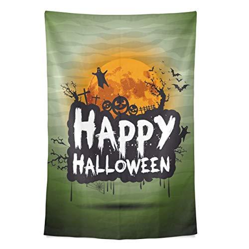 Zemivs Mens Wall Art Happy Halloween Phantasie Party Wandteppich Wandbehang Cool Post Print für Wohnheim Home Wohnzimmer Schlafzimmer 80 X 60 Zoll große Küche Wandkunst (Post Halloween Happy)