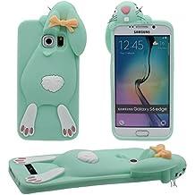 Galaxy S6 Edge Case 3D Animal Popular Bonita Linda Conejo Forma Alta calidad Suave Silicona Plastico Gel Antigolpes Carcasa Protectora Case para Samsung Galaxy S6 Edge ( cian )