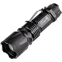 UltraFire Linterna LED, Linternas Mini,U5, 3 Modos, 300 Lumens, Linterna Táctica,Ajustar zoom ,Luminoso O-rings, 1 Pack