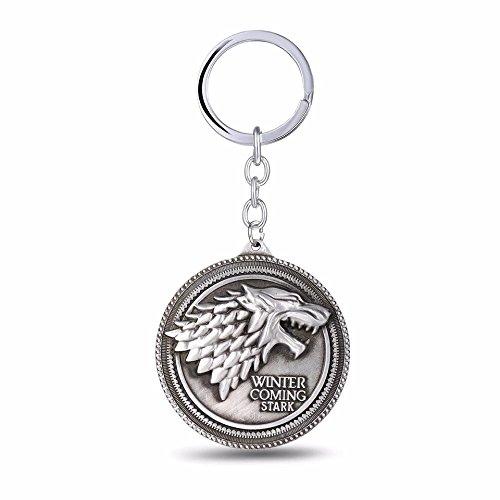 Game of Thrones Haus Stark Wolf Schlüsselanhänger Game of Thrones Kostüm Prop Schlüsselanhänger, silber