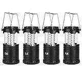 LE Camping Laterne, 30 LEDs Batteriebetrieben Campinglampe, Faltbare Camping Hängelampe, geeignet für Angeln, Abenteuer, Wandern, Notfall, Ausfälle usw, 4er Pack
