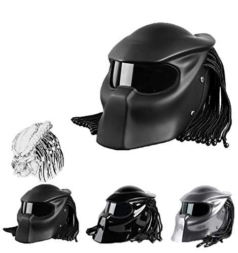 C-TK Predator Casque de Moto, Le Plus Cool Plein Visage Guerrier Hommes et Les Femmes Casque Anti-Brouillard lentille, Certification de sécurité Dot,Black,L(59~60) CM