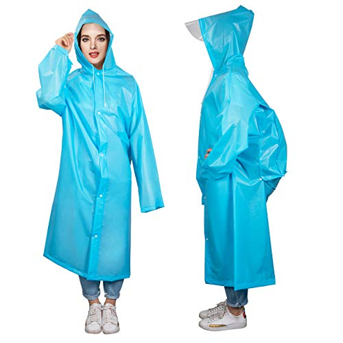 Denavo Portable Adult Translucent Hooded Rain/Raincoat Poncho with Sleeves - Two Colours 3 Size - Keep The Rain/Snow/Water Off Your Clothes, for Camping/Travel/Mountaineering