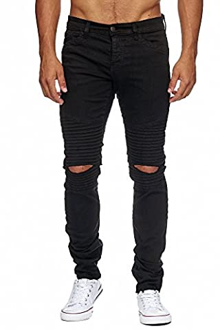 MEGASTYL Biker-Jeans Herren Hose Stretch-Denim Slim-Fit classic, Größe:W30 / L32,