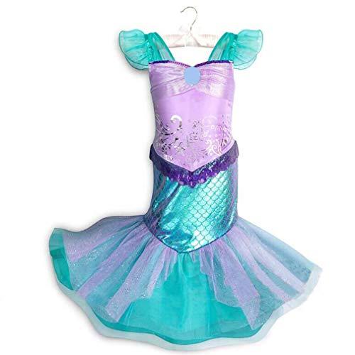 Mädchen Meerjungfrau Kostüm Pailletten Kleid Prinzessin Karneval Party Halloween Weihnachten Kinderkostüm/3-4Jahre