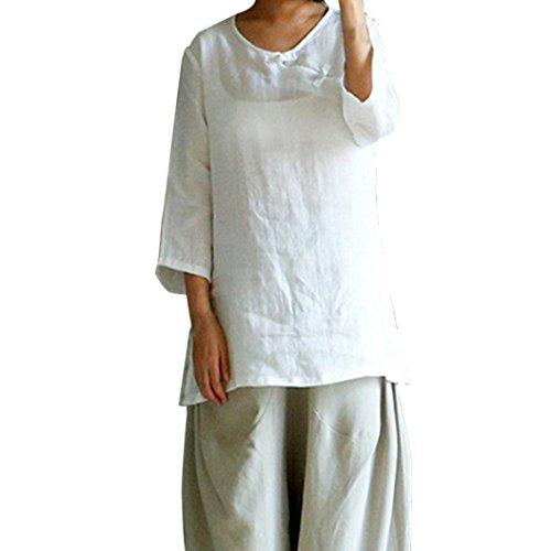 SEWORLD 2018 Damen Mode Sommer Herbst Schal Einfarbig Chinesische Art Cheongsam Baumwolle Leinen Tops Casual Lose Bluse Shirt(Weiß,EU-48/CN-2XL)