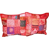 Indian Ethnic Cushion Cover Embroidered Pillow Covers Size 16 X 16 Inch Set of 2 Pcs