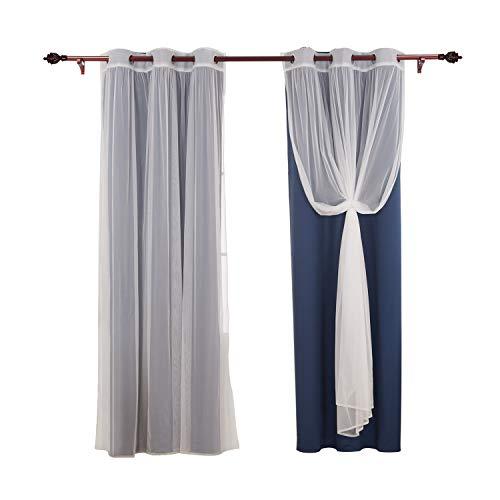 Deconovo Mix and Match Verdunklungsvorhänge Thermo-Isolierter Vorhang für Schlafzimmer 38x95 inch Marineblau -
