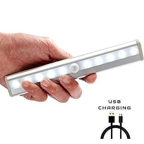 Wiederaufladbare Nachtlicht mit USB-Ladekabel , [LEDemain] PIR Bewegungs-Sensor-Kabinett-Licht mit Magnet