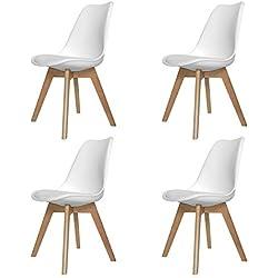 Naturelifestore Pack de 4 sillas de comedor / oficina con madera de haya Piernas Para Comedor / Sala de estar / Café / Restaurante, Blanco