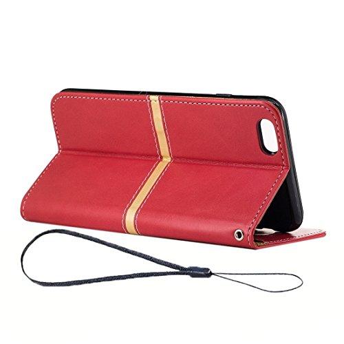 BING Für iPhone 6 / 6s, Crazy Pferd Textur PU Leder Horizontale Flip Leder Tasche mit Halter & Card Slots & Wallet & Photo Frame & Lanyard BING ( Color : Red ) Red