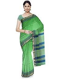 Mahima Emporium Maheshwari Handloom Cotton and Silk Saree (Light Green)