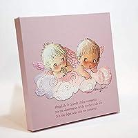 """Angelitos nube rosa y oración""""Angel de la guarda…"""" 30x30cm. Ilustración de Juan Ferrándiz impresa en lienzo. Serie limitada y numerada"""