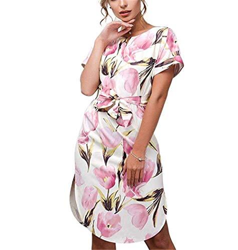 Sommer für Frauen Damen Kurzarm Lässig Vintage Büro Party Urlaub Gürtel Schal Midi Tunika Kleid Blumen Rosa Größe 38 40 L ()