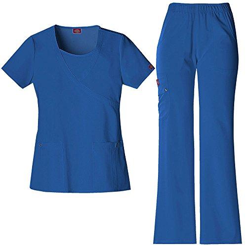 Xtreme Stretch Frauen Mock Wrap Scrub Top & elastische Taille Scrub Hose Set X-Small Royal - Dickies-elastische Taille Hose