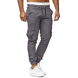 Yowablo Jogginghose Herren Jogging Streetwear Sporthose Lässige elastische Sport Solide Baggy Pockets Hose (M,1Grau)
