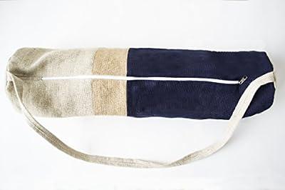 Yoga Matte Tasche-Marineblau Blau Jute Turnbeutel in Modernes Color Block Design-Yoga Tote-Yogamatte Sling Bag-Navy natürliches Elfenbein Jute Yoga bag-yoga backpack-yoga Zubehör-Sport Tasche-Geschenk Tasche in Jute-Manduka M